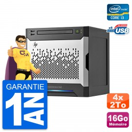 Serveur HP Proliant MicroServer Gen8 i3-3240 RAM 16Go 4x 2To HP B120i RAID