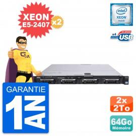 Serveur Rackable Dell PowerEdge R420 2x Xeon E5-2407 64Go 2x2To SATA Perc H310