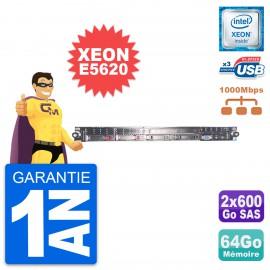 Serveur Rackable HP Proliant DL360 G7 Intel Xeon E5620 64Go 2x600Go SAS P410i