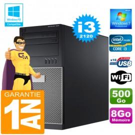 PC Tour DELL 7010 Core I3-2120 Ram 8Go Disque 500 Go Wifi W7