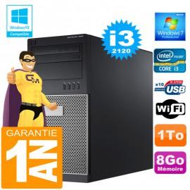 PC Tour DELL 7010 Core I3-2120 Ram 8Go Disque 1 To Wifi W7