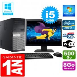 """PC Tour DELL 7010 Core I5-2400 Ram 8Go Disque 500 Go Wifi W7 Ecran 22"""""""