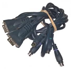Câble Adaptateur KVM VGA Mâle 14Pin PS/2 Mâle vers VGA Mâle 14Pin PS/2 Mâle 2.4m
