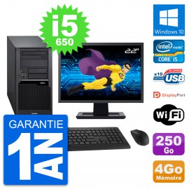 "PC Tour Fujitsu W280 Ecran 22"" Intel i5-650 RAM 4Go Disque 250Go Windows 10 Wifi"