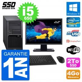 "PC Tour Fujitsu W280 Ecran 22"" Intel Core i5-650 RAM 4Go SSD 2To Windows 10 Wifi"