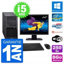 "PC Tour Fujitsu W280 Ecran 22"" Intel i5-650 RAM 8Go Disque 250Go Windows 10 Wifi"