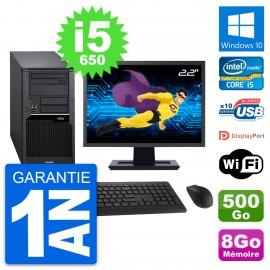 "PC Tour Fujitsu W280 Ecran 22"" Intel i5-650 RAM 8Go Disque 500Go Windows 10 Wifi"