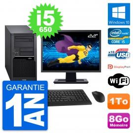 "PC Tour Fujitsu W280 Ecran 22"" Intel i5-650 RAM 8Go Disque 1To Windows 10 Wifi"