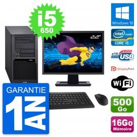 "PC Tour Fujitsu W280 Ecran 22"" Core i5-650 RAM 16Go Disque 500Go Windows 10 Wifi"