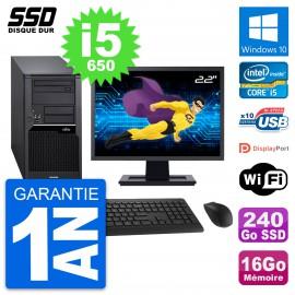 """PC Tour Fujitsu W280 Ecran 22"""" Intel i5-650 RAM 16Go SSD 240Go Windows 10 Wifi"""