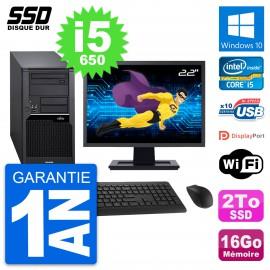 """PC Tour Fujitsu W280 Ecran 22"""" Intel i5-650 RAM 16Go SSD 2To Windows 10 Wifi"""