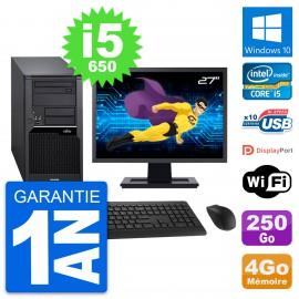"PC Tour Fujitsu W280 Ecran 27"" Intel i5-650 RAM 4Go Disque 250Go Windows 10 Wifi"