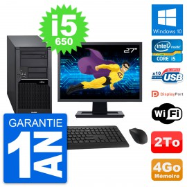 "PC Tour Fujitsu W280 Ecran 27"" Intel i5-650 RAM 4Go Disque 2To Windows 10 Wifi"