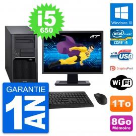 "PC Tour Fujitsu W280 Ecran 27"" Intel i5-650 RAM 8Go Disque 1To Windows 10 Wifi"