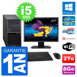 "PC Tour Fujitsu W280 Ecran 27"" Intel i5-650 RAM 8Go Disque 2To Windows 10 Wifi"