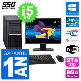 "PC Tour Fujitsu W280 Ecran 27"" Intel Core i5-650 RAM 8Go SSD 2To Windows 10 Wifi"