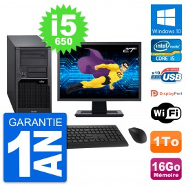 "PC Tour Fujitsu W280 Ecran 27"" Intel i5-650 RAM 16Go Disque 1To Windows 10 Wifi"