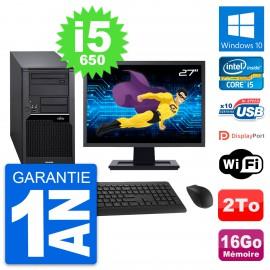 "PC Tour Fujitsu W280 Ecran 27"" Intel i5-650 RAM 16Go Disque 2To Windows 10 Wifi"