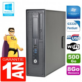 PC HP EliteDesk 800 G1 SFF Intel G3220 8Go Disque 500 Go Graveur DVD Wifi W7