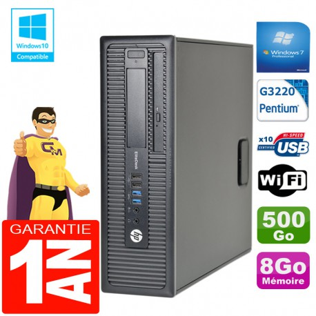 PC HP EliteDesk 800 G1 SFF Intel G3220 8Go Disque 500 Go Graveur DVD Wifi W7