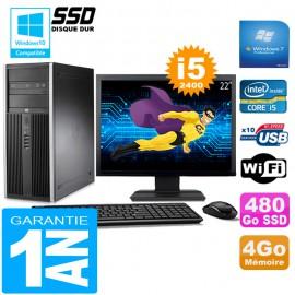 """PC Tour HP Compaq 8200 Core I5-2400 Ram 4Go Disque 480Go SSD Wifi W7 Ecran 22"""""""