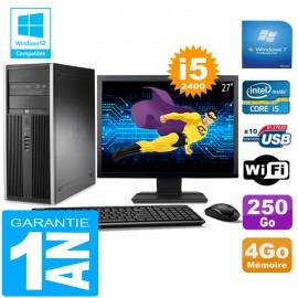 "PC Tour HP Compaq 8200 Core I5-2400 Ram 4Go Disque 250 Go Wifi W7 Ecran 27"""