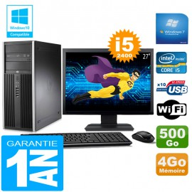 "PC Tour HP Compaq 8200 Core I5-2400 Ram 4Go Disque 500 Go Wifi W7 Ecran 27"""