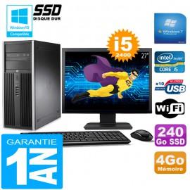 """PC Tour HP Compaq 8200 Core I5-2400 Ram 4Go Disque 240Go SSD Wifi W7 Ecran 27"""""""