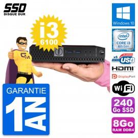 Mini PC Dell 7040 Micro Core i3-6100T RAM 8Go SSD 240Go HDMI Windows 10 Wifi