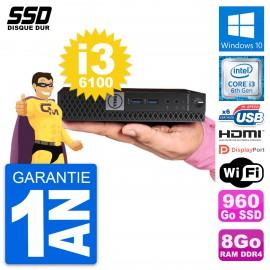 Mini PC Dell 7040 Micro Core i3-6100T RAM 8Go SSD 960Go HDMI Windows 10 Wifi