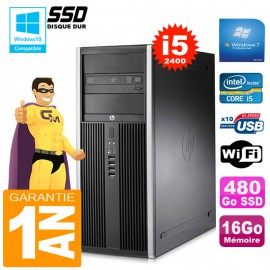 PC Tour HP Compaq 8200 Core I5-2400 Ram 16Go Disque 480Go SSD Graveur DVD Wifi W7