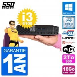 Mini PC Dell OptiPlex 7040 Micro i3-6100T RAM 16Go SSD 2To HDMI Windows 10 Wifi