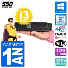 Mini PC Dell 7040 Micro Intel i3-6100T RAM 32Go SSD 120Go HDMI Windows 10 Wifi