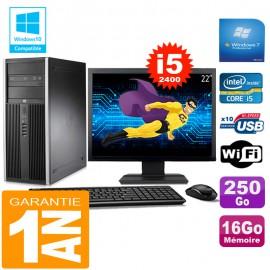 "PC Tour HP Compaq 8200 Core I5-2400 Ram 16Go Disque 250 Go Wifi W7 Ecran 22"""