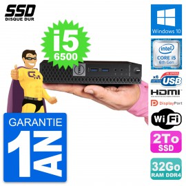 Mini PC Dell OptiPlex 7040 Micro i5-6500T RAM 32Go SSD 2To HDMI Windows 10 Wifi