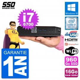 Mini PC Dell 7040 Micro Core i7-6700T RAM 16Go SSD 960Go HDMI Windows 10 Wifi