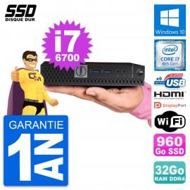 Mini PC Dell 7040 Micro Intel i7-6700T RAM 32Go SSD 960Go HDMI Windows 10 Wifi