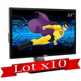 "Lot x10 Ecran Plat LCD 22"" DELL P2210t P2210f TFT VGA DVI Display 4xUSB VESA"