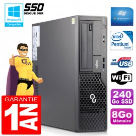 PC Fujitsu Esprimo E500 E85+ SFF Intel G640 RAM 8Go Disque 240 Go SSD Wifi W7