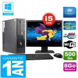 """PC Fujitsu Esprimo E500 E85+ SFF I5-2400 RAM 8Go Disque 500Go Wifi W7 Ecran 22"""""""