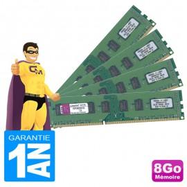 8Go Lot 4 x 2Go RAM Kingston KVR1066D3N7/2G DDR3 PC3-8500 1066MHz 2Rx8 PC Bureau