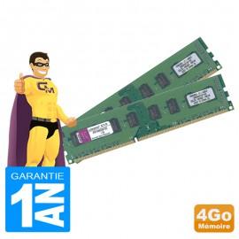 4Go Lot 2 x 2Go RAM Kingston KVR1066D3N7/2G DDR3 PC3-8500 1066MHz 2Rx8 PC Bureau