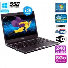 "PC Portable 13.3"" Toshiba R700-1F0 Core I3-380M 8Go 240Go SSD Webcam WIFI W7"