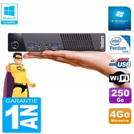Ultra Mini PC Lenovo M73 USFF Tiny G3250T 4Go Disque 250Go Wifi W7