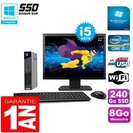 """Ultra Mini PC Lenovo M73 USFF Tiny Core I5-4570 8Go 240Go SSD Wifi W7 Ecran 22"""""""