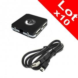 Lot x10 Mini Hub USB Point of View 4 Ports USB 2.0 Cable PC Portable NEUF