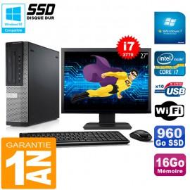 """PC DELL 7010 DT Core I7-3770 Ram 16Go Disque 960Go SSD Graveur Wifi W7 Ecran 27"""""""