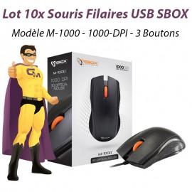Lot x10 Souris Optiques Filaires USB SBOX M-1000 3 Boutons 1000-DPI Noires NEUF