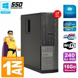 PC Dell Optiplex 9010 SFF Core I7-2600 16Go Disque 240Go SSD Graveur DVD Wifi W7