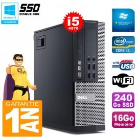 PC DELL Optiplex 9020 SFF I5-4570 16Go Disque 240Go SSD Graveur DVD Wifi Win 7